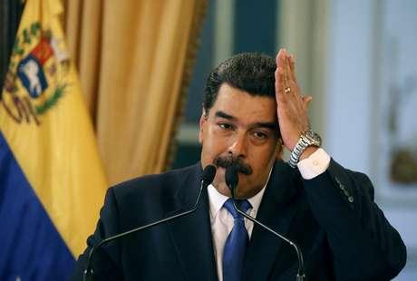 Presidente da Venezuela, Nicolás Maduro durante conferência em Caracas