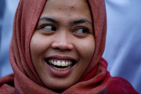 Siti Aisyah, após ser solta por um tribunal da Malásia 11/03/2019 REUTERS/Willy Kurniawan