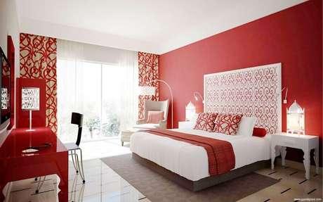 60. A decoração vermelho e branco é super clássica – Foto: Home Design