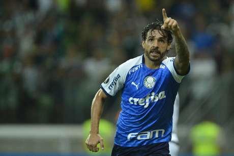 Comemoração do gol de Ricardo Goulart, do Palmeiras (BRA), marcado diante do Melgar (PER), durante partida válida pela 2ª rodada do Copa Libertadores de 2019, realizada no Estádio do Allianz Parque, zona oeste da capital paulista, na noite desta terça- feira (12).