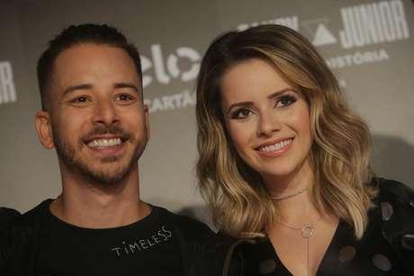 A dupla Sandy & Junior durante entrevista coletiva no Allianz Parque, na zona oeste de São Paulo, nesta quarta-feira, 13.