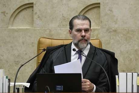 O presidente do STF, Dias Toffoli, durante sessão no plenário da Corte, em Brasília (DF)