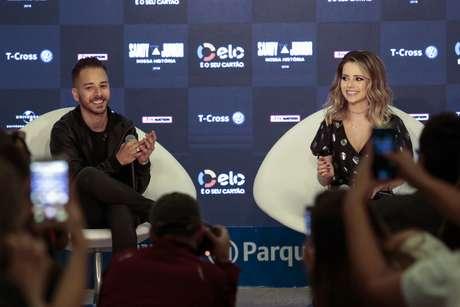 Sandy e Junior durante entrevista coletiva nesta quarta-feira (13), no Allianz Parque, em São Paulo (SP)