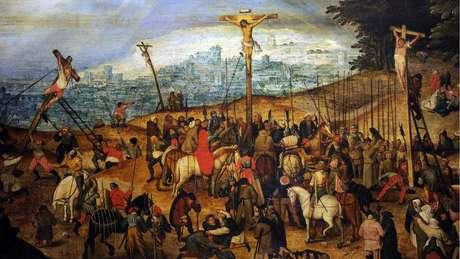 Obra roubada de igreja na Ligúria era reprodução de 'Crucificação' - na imagem, aparece uma réplica do quadro exibida em Budapeste