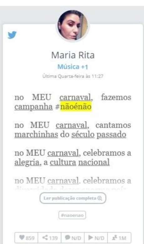 A cantora Maria Rita também entrou na campanha 'Não é Não' durante o carnaval 2019.