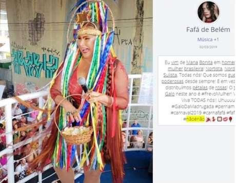 Atuação da cantoraFafá de Belém nas redes sociais durante o carnaval 2019.