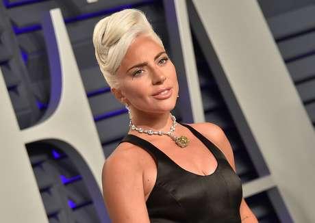 Lady Gaga na festa da Vanity Fair, após cerimônia do Oscar