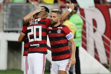 Uribe comemora seu gol durante partida entre Flamengo X LDU válida pela segunda rodada da Libertadores 2019 no estádio do Maracanã, zona norte da cidade, nesta quarta-feira (13/03)