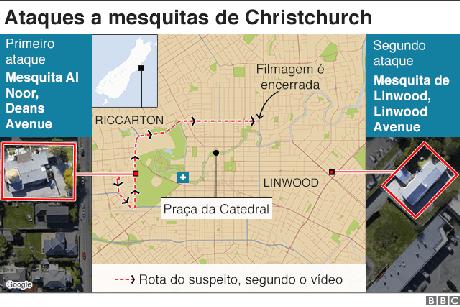 Mapa mostra rota do suspeito