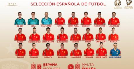Seleção espanhola convocada por Luis Enrique nesta sexta (Reprodução)