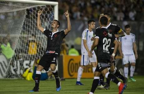 Thiago Galhardo comemora gol durante Vasco x Avai realizada no Estádio de São Januário pela Copa do Brasil, nesta quinta-feira (14), no Rio de Janeiro, RJ.