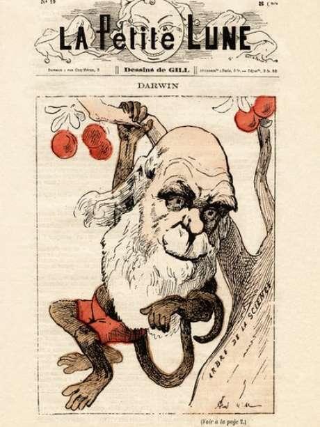 Revista francesa com caricatura de Darwin e sua teoria de que os humanos e os macacos têm um ancestral comum.