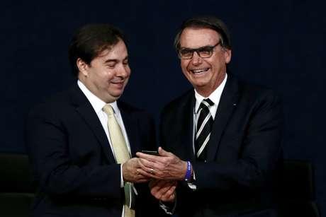 O presidente da Câmara, Rodrigo Maia, e o presidente da República, Jair Bolsonaro, que andaram tendo desentendimentos públicos