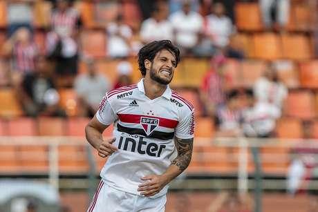 Hudson, do São Paulo em lance durante a partida entre São Paulo x Palmeiras