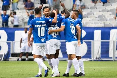 Comemoração do gol de Sassá, contra o Tombense, na 9ª rodada do Campeonato Mineiro, no Mineirão