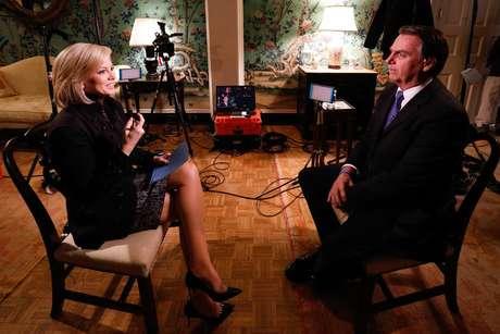 Presidente da República Jair Bolsonaro concede entrevista para Shannon Bream, apresentadora da Fox News