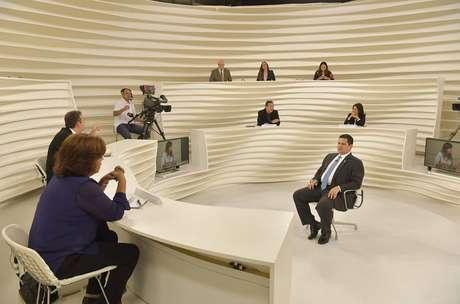Presidente do Senado Federal, Davi Alcolumbre é entrevistado pelo programa Roda Viva, da TV Cultura, em São Paulo.