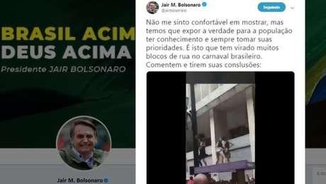 Postagem polêmica em conta de Bolsonaro foi apagada