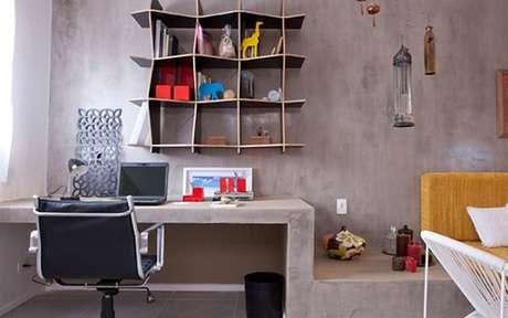 35- Na decoração de sala simples e barata os móveis são feitos de concreto. Fonte: IG Delas