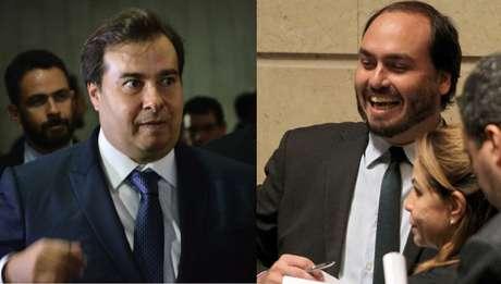 Rodrigo Maia, presidente da Câmara dos Deputados, e Carlos Bolsonaro, vereador pelo PSC no Rio de Janeiro e filho do presidente da República, Jair Bolsonaro