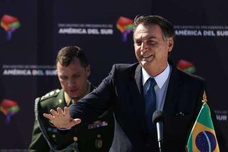 Jair Bolsonaro durante visita oficial ao Chile