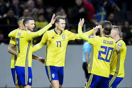 Suécia venceu a Romênia neste sábado por 2 a 1 (Foto: JONATHAN NACKSTRAND/AFP)