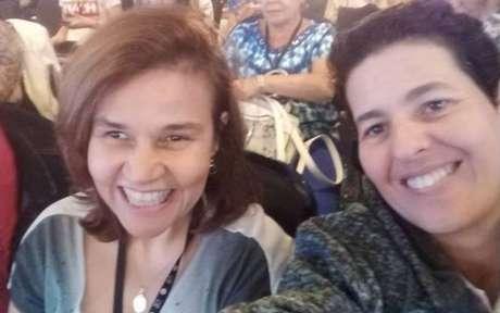 A atriz Claudia Rodrigues e a amiga e empresária Adriane Bonato.