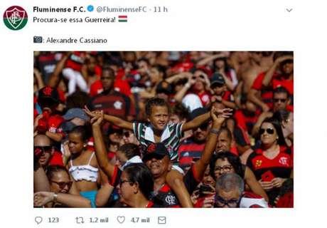 Laís viralizou nas redes sociais em primeiro jogo no Maracanã(Foto: Reprodução/Twitter e Alexandre Cassiano)