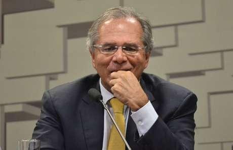 Paulo Guedes, ministro da Economia em audiência sobre a reforma da Previdência na Comissão de Assuntos Econômicos (CAE) do Senado Federal em Brasília (DF), nesta quarta-feira (27).