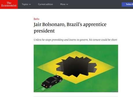Reprodução do título da matéria da revista The Economist crítica ao presidente Jair Bolsonaro