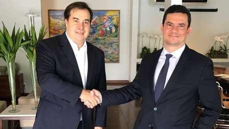 Rodrigo Maia e Sérgio Moro durante encontro realizado na residência oficial da Câmara