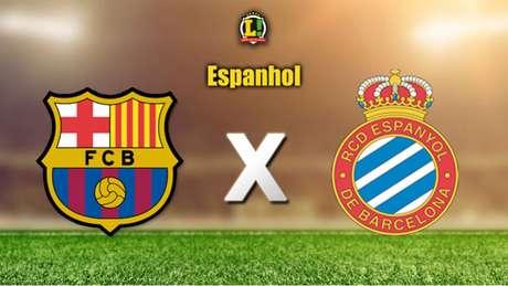 Culés recebem o Espanyol neste sábado (Arte: Lance!)