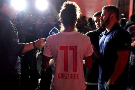 Cristiane durante entrevista coletiva no lançamento do uniforme do São Paulo para 2019