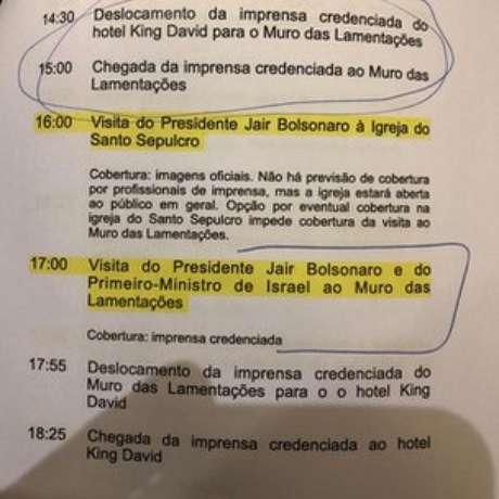 Itamaraty divulgou cronograma da visita de Jair Bolsonaro a Israel