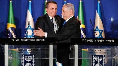 O presidente Jair Bolsonaro (PSL) se encontrou com o primeiro-ministro de Israel, Benjamin Netanyahu, neste domingo