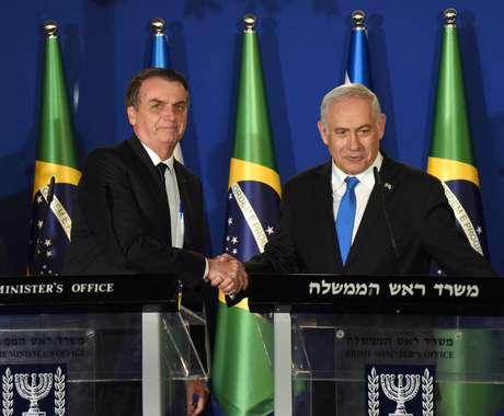 Presidente do Brasil, Jair Bolsonaro, e o primeiro-ministro de Israel, Benjamin Netanyahu