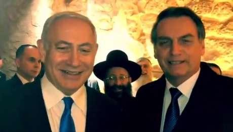 Bolsonaro e Binyamin Netanyahu, em encontro em Israel (Foto: Divulgação/Twitter)