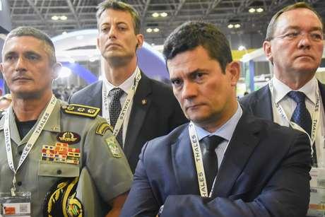 O ministro da Justiça e Segurança Pública, Sérgio Moro, chega para visitar a 12ª LAAD Defence & Security, a mais importante feira de defesa e segurança da América Latina, realizada de 2 a 5 de abril no Riocentro, na capital fluminense, nesta terça-feira, de abril de 2019.