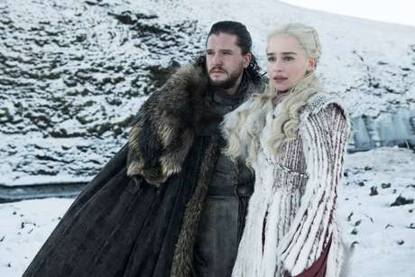 Jon Snow (Kit Harington) e Daenerys Targaryen (Emilia Clarke) em cena da 8ª temporada de 'Game of Thrones'.