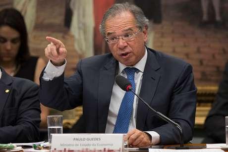 O ministro da Economia, Paulo Guedes, durante audiência na Comissão de Constituição e Justiça (CCJ) da Câmara dos Deputados para discutir a reforma da Previdência