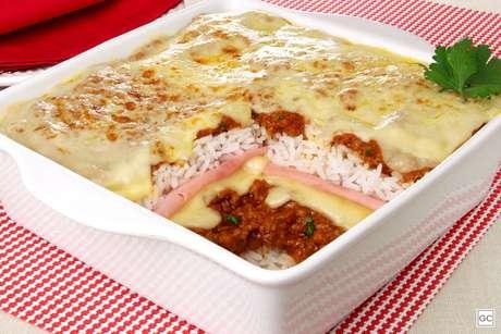 Lasanha de arroz à bolonhesa
