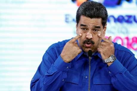 O presidente venezuelano, Nicolás Maduro, durante coletiva de imprensa em Caracas