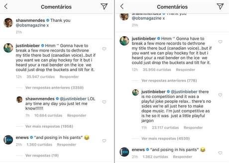 Comentários de Justin Bieber na publicação de Shawn Mendes.