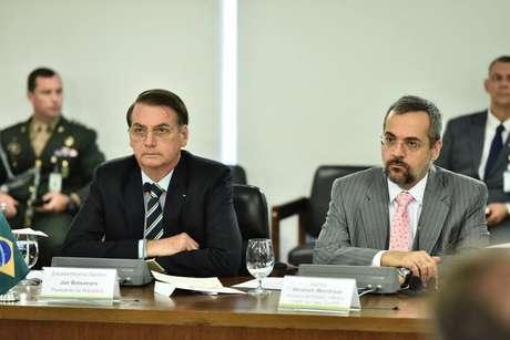 O presidente Jair Bolsonaro e o novo ministro da Educação, Abraham Weintraub.