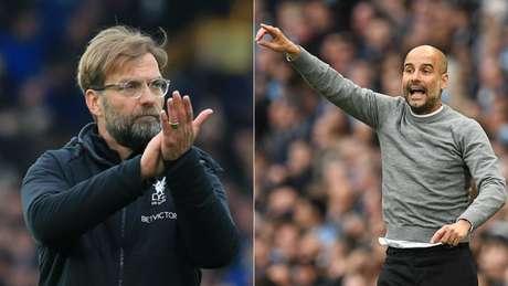 Jurgen Klopp e Pep Guardiola comandam seus times em ótima temporada para ambos (AFP)