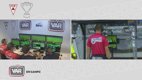 O VAR estreou no futebol mineiro nas semifinais do Estadual e ja gerou polêmica- Reprodução/Premirere