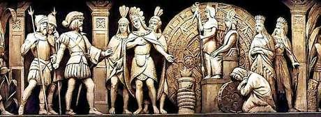 Cortez entrevista-se com o imperador asteca Montezuma