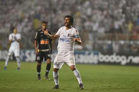 Victor Ferraz durante a vitória sobre o Corinthians, mas que não deu a classificação (Foto: Ivan Storti/Santos FC)