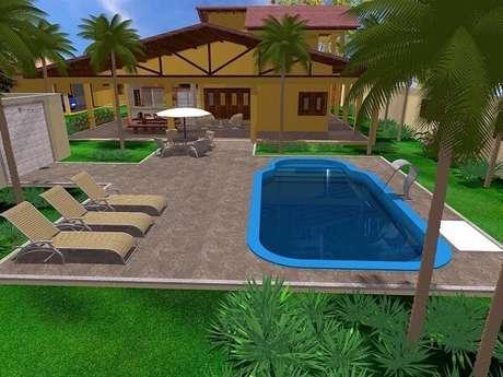 2 – Área de lazer pequena com piscina. Projeto de Simone Cravo