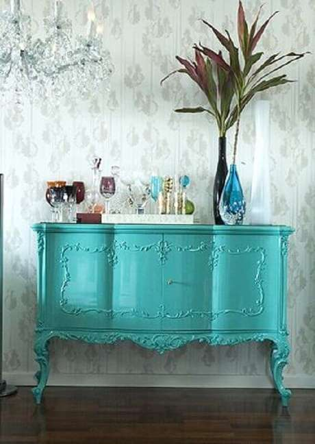 16. Móveis em tons de verde água são tendência na decoração – Foto: Mirian Moura